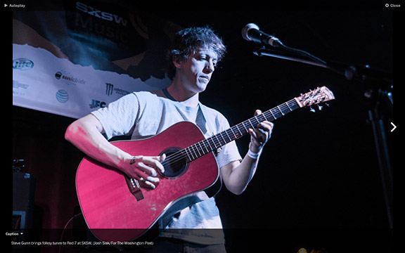 Steve Gunn at Red 7, SxSW, as photographed by the Washington Post.