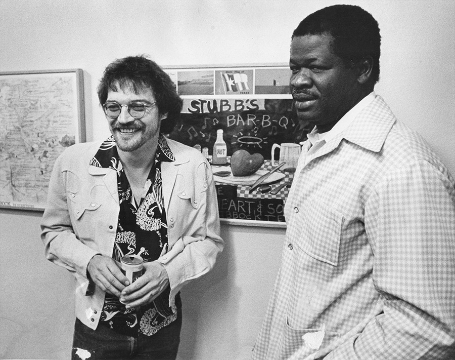 Terry and BBQ genius Stubb at the Lubbock Lights Gallery during the original album record release exhibition, spring 1979.